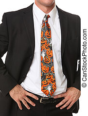 Business Man with Halloween Themed Tie