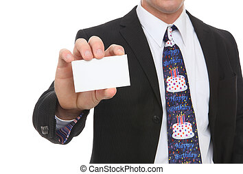Business Man with Happy Birthday Tie - A business man with a...