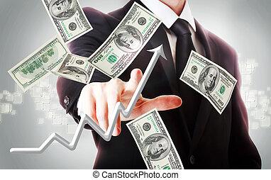 Business man with hundred dollar bills