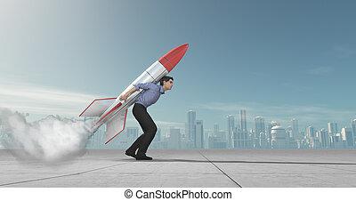 Business man with jet pack rocket - Business man holding jet...