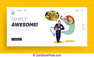 Business Man with Lamp Alladin and Gin Landing Page Template. Big Money Dream. Office Manager Character Desire to be Rich and Wealthy Ask Geine to Give him Much Gold. Linear People Vector Illustration