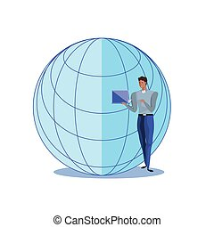 business man with laptop and sphere browser