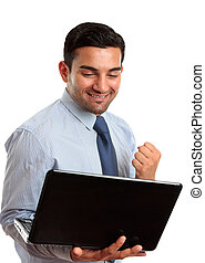 Business man with laptop computer success, victory - A happy...