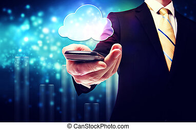Business man with mobile phone cloud service