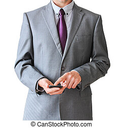 Business man with mobile phone, isolated on white background