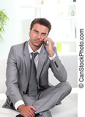 Business man with mobile