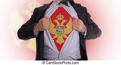 Business man with Montenegrin flag t-shirt - Business man...