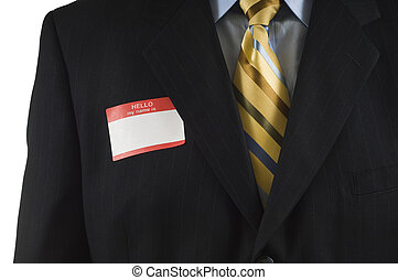 Business man with Name Tag - Business man in blue suit with...