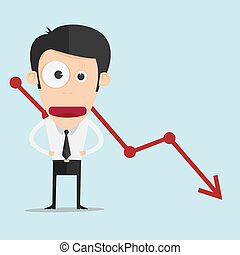 Business man with negative graph