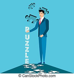 business man with of puzzle pieces