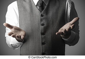 Business man with open hand palms as a sign of not knowing or get something, Business Concept