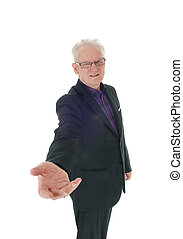 Business man with outstretched hand.