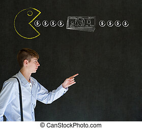 Business man with pacman on blackboard