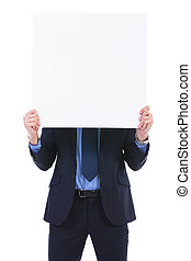 business man with pannel in front of face