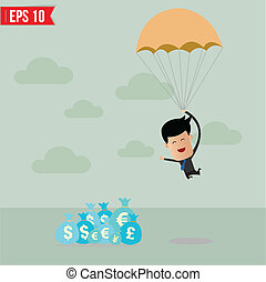 Business man with parachute on the target  - Vector illustration - EPS10