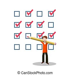 Business Man with Pencil and Questionnaire. Vector Choice Symbol. Checklist Icon.