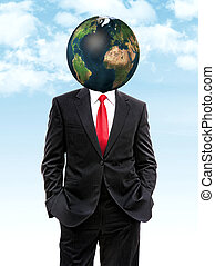 business man with planet earth instead of head