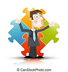 Business Man with Puzzle on Background - Vector