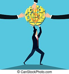business man with puzzle pieces in shape circle