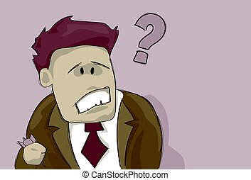 Business Man With Question Mark Pondering Problem Concept