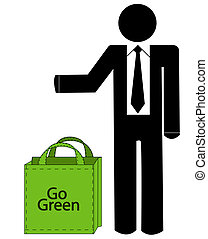 business man with recycleable bag