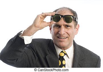 business man with retro vintage sunglasses portrait