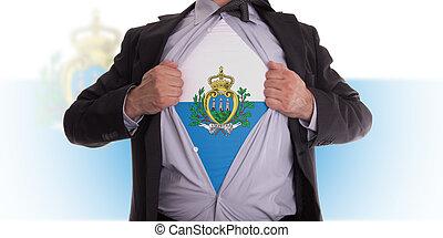 Business man with San Marino flag t-shirt - Business man ...