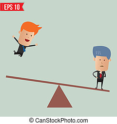 Business man with seesaw  - Vector illustration - EPS10