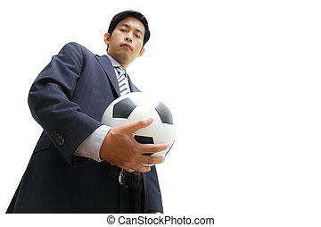 Business man with soccer ball
