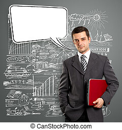 Business Man With Speech Bubble - Business man with speech...