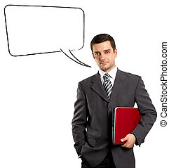 Business Man With Speech Bubble - Business man with speech...