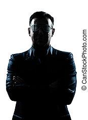 business man with strange glasses