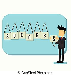 business man with success board