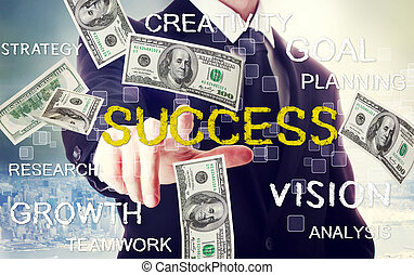 Business man with success theme with hundred dollar bills