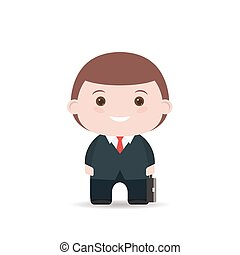 Business man with suitcase. Flat illustration isolated on white background.