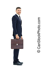 Business man with suitcase  isolated on white background