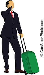 Business man with suitcase. Vector