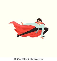 Business man with superhero mantle in landing powerful action. Young male character in shirt, pants and tie. Office worker ready to fight for career achievement. Flat vector