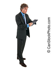 Business man with tablet in studio