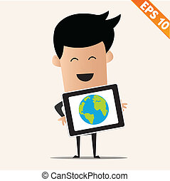 Business man with tablet PC - Vector illustration - EPS10