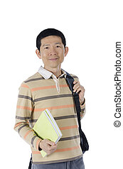 business man with two book over white background
