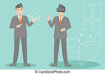 business man with virtual reality