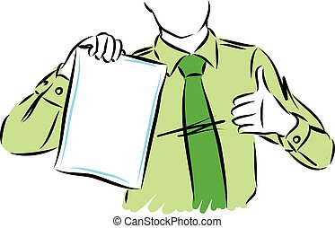 business man with white sheet of paper vector illustration