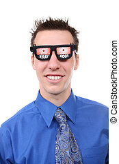 Business Man with X-Ray Glasses