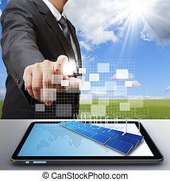 business man work with virtual green business