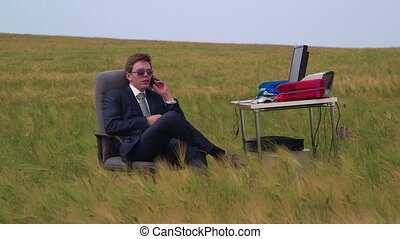 Business man working in open air virtual office
