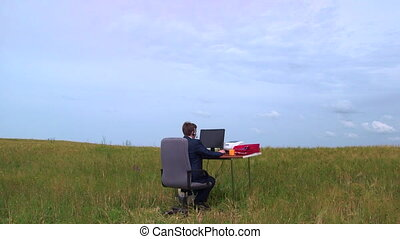 Business man working in remote virtual office