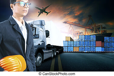 business man working in shipping port use for logistic and cargo freight industry