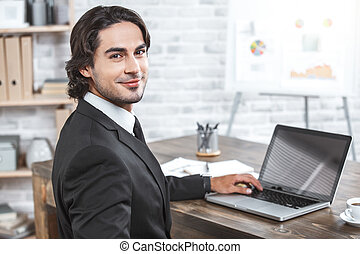 Business man working in the office job concept
