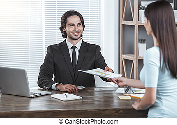 Business man working in the office job concept - Business...